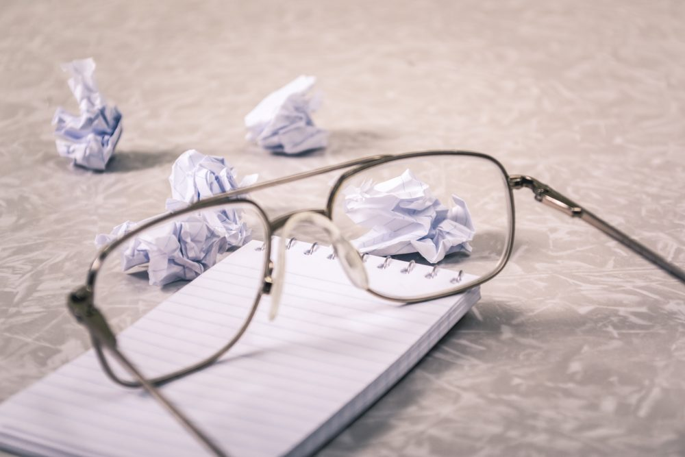 Why predictability is good in writing glasses and crumbled paper